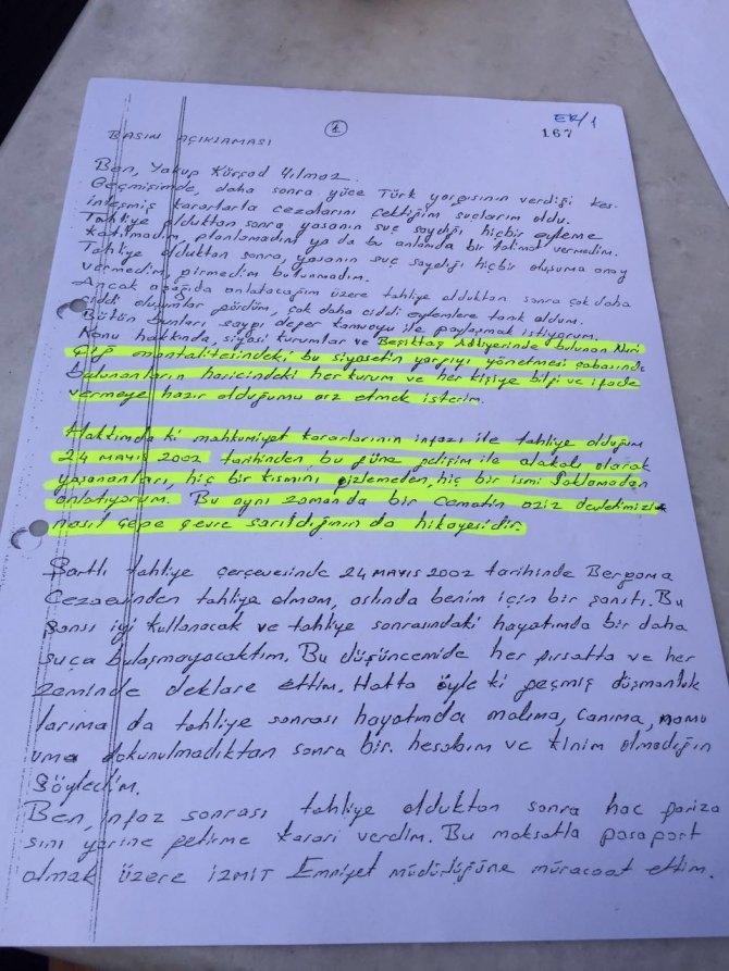 İşte Kürşat Yılmaz'ın kendi elinden yazdığı mektuplar.. galerisi resim 1