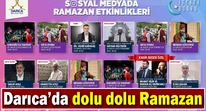 Darıca Belediyesi sosyal medya ramazan etkinlikleri ile evlere konuk olacak