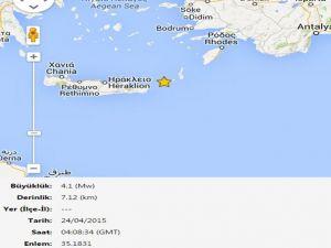 Girit Açıklarında 4.1 Büyüklüğünde Deprem
