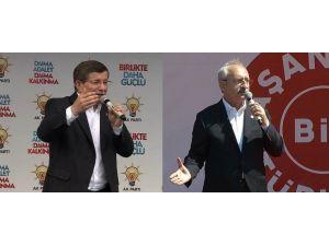 Davutoğlu Muş'ta, Kılıçdaroğlu Çanakkale'de Konuştu