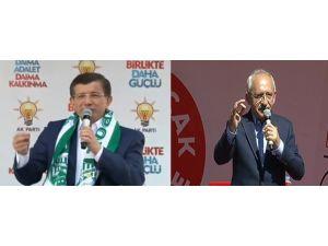 Davutoğlu Bingöl'de, Kılıçdaroğlu Tokat'ta Konuştu