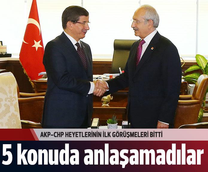 AKP CHP Koalisyon Görüşmeleri Olumsuz Sona Erdi