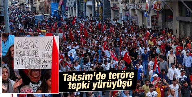 Taksimde teröre tepki yürüyüşü