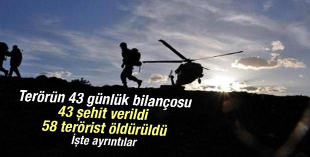 Terör operasyonlarında 43 günlük bilanço