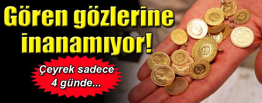 Çeyrek altının satış fiyatı 4 günde 15 lira yükseldi