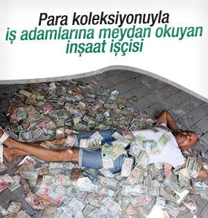Gaziantepli inşaat işçisi para koleksiyonuyla meydan okudu
