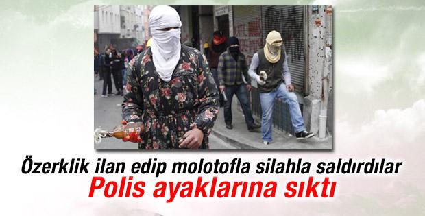 Polis molotoflu eylemcileri ayaklarından vurdu