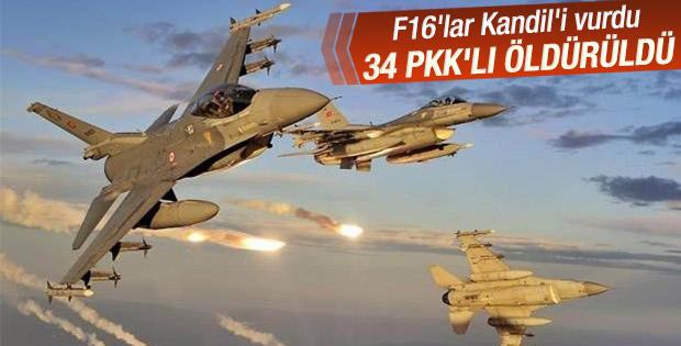 Genelkurmay: Kuzey Irak'ta 34 PKK'lı öldürüldü