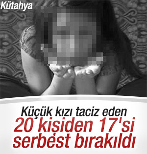 Kütahya'da küçük kıza taciz eden 17 kişi serbest kaldı