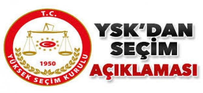 YSK'dan Seçim Açıklaması