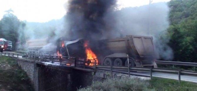 Çarpışan kamyonlar alev alev yandı