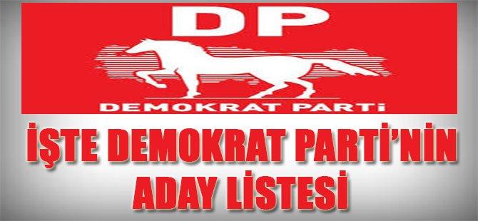 İşte Demokrat Parti'nin Aday Listesi
