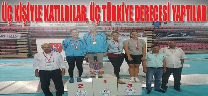 Üç kişiyle katıldılar, Üç Türkiye Derecesi Yaptılar