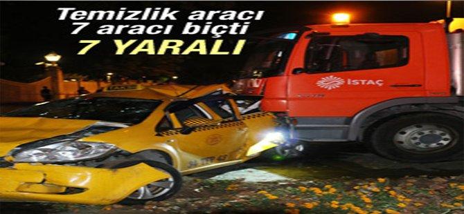 Beşiktaş'ta temizlik aracı dehşet saçtı
