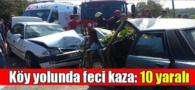 Köy yolunda feci kaza: 10 yaralı