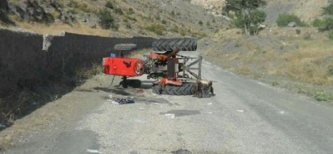 Traktör devrildi! 3 kişi yaralandı
