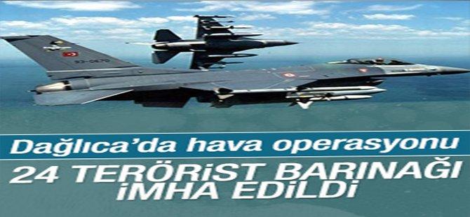Dağlıca'da 24 terörist barınağı bombalandı