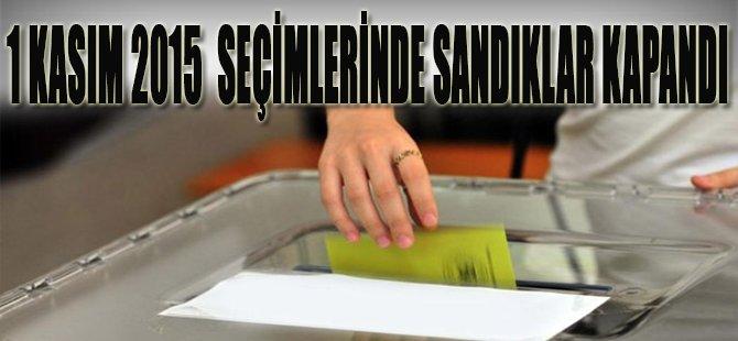 1 Kasım 2015 seçimlerinde sandıklar kapandı