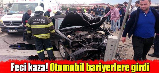 Feci kaza! Otomobil bariyerlere girdi
