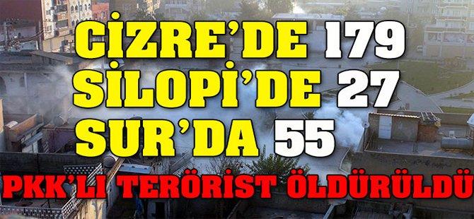 Cizre'de 179, Silopi'de 27, Diyarbakır Sur'da ise 55 PKK Tetörist Öldürüldü