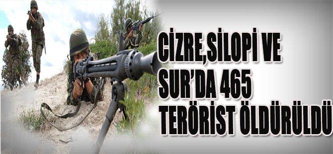 Cizre,Silopi Ve Sur'da 465 Terörist Öldürüldü
