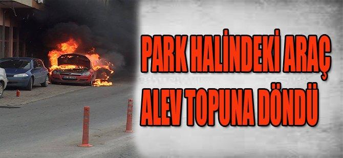 PARK HALİNDEKİ OTOMOBİL ALEV TOPUNA DÖNDÜ