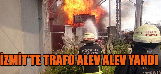 İZMİT'TE TRAFO ALEV ALEV YANDI