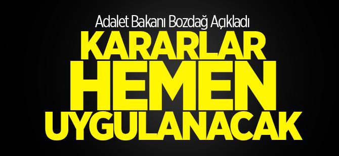 Adalet Bakanı Bekir Bozdağ'dan YAŞ kararları açıklaması