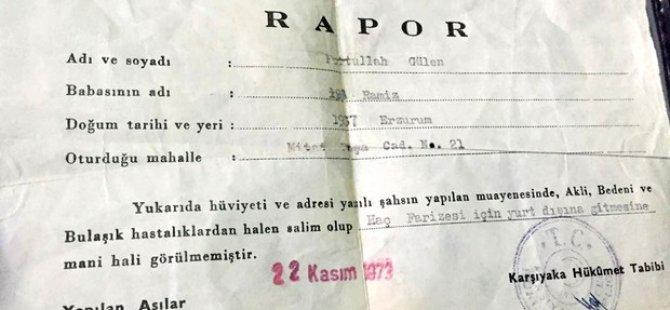 Gülen'in 43 yıllık sağlık raporu bulundu