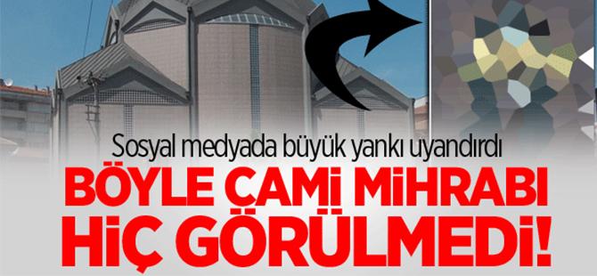 Sosyal medyadan haçlı cami mihrabına büyük tepki!