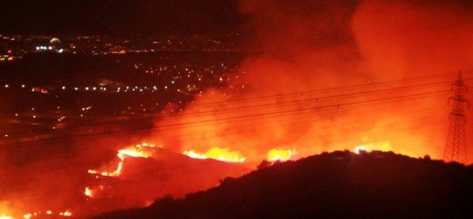 İzmir'de büyük yangın! Yerleşim yeri tehdit altında...