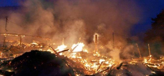 Bir köy yangında yok oldu