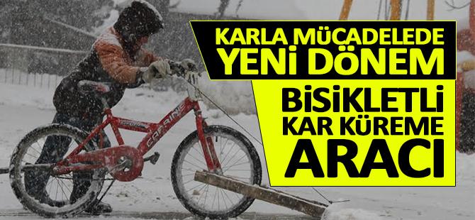 Karla mücadelede yeni dönem; Bisikletli kar küreme aracı