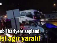 Otomobil bariyere saplandı sürücüsü ağır yaralandı!