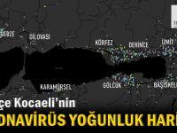 İlçe ilçe Kocaeli'nin Korona virüs yoğunluk haritası