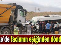İşçi servisi ile hafriyat kamyonu çarpıştı: 5 yaralı!