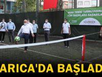 Darıca'da sosyal mesafeli ayak tenisi turnuvası başladı