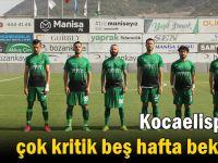 Kocaelispor'u çok kritik beş hafta bekliyor