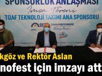 Büyükgöz ve Rektör Aslan  Teknofest için imzayı attı