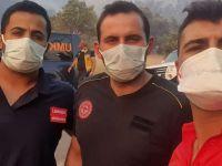 İl Sağlık Müdürlüğü ekibi yangın bölgesinde