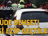 Güvenlik şeridine giren araç yunus polislerine çarptı!