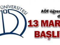 AÖF öğrencileri dikkat: 13 Mart'ta başlıyor