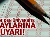 ÖSYM'den Üniversite Adaylarına Uyarı!