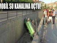 Gebze'de bir otomobil su kanalına uçtu!
