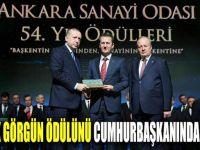Haluk Görgün ödülünü Cumhurbaşkanından aldı