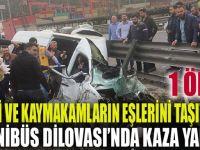 Vali ve kaymakamların eşlerini taşıyan minibüs Dilovası'nda kaza yaptı