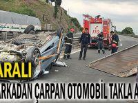TIR'a çarpan otomobil ters döndü: 4 yaralı