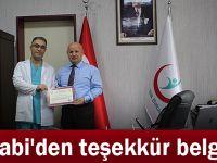 Farabi'den teşekkür belgesi