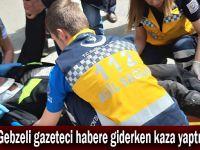 Gebzeli gazeteci habere giderken kaza yaptı!