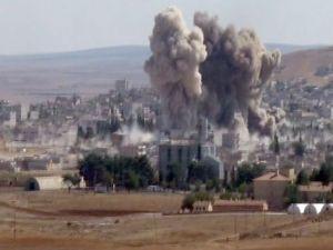 Koalisyon uçakları Kobani merkezini vurdu
